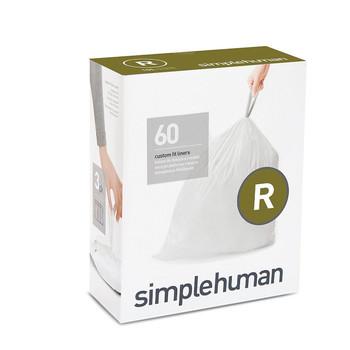 simplehuman Custom Fit Bin Liner Refill Pack Code R, 3 X Pack Of 20 (60 Liners)