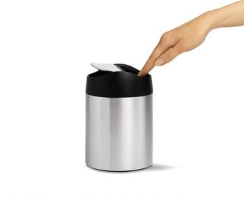 simplehuman Tabletop Bin 1.5 Litre, Brushed Steel