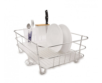 simplehuman Slim Wire Frame Dishrack Brushed Steel/Frosted Plastic