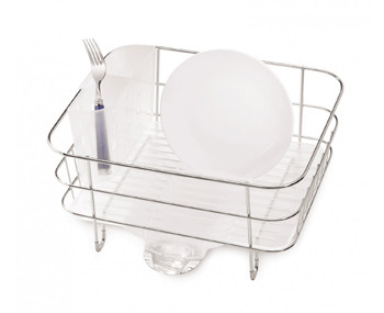simplehuman Compact Wire Frame Dishrack Brushed Steel/Frosted Plastic