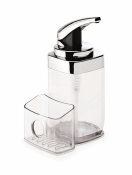 simplehuman Push Pump 650ml, Square With Caddy, Chrome