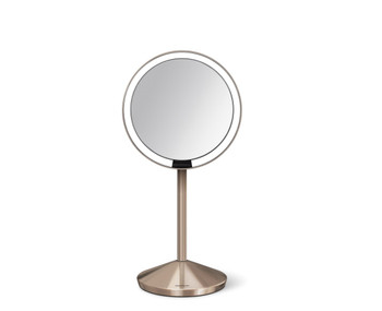 simplehuman Sensor Mirror 12cm, Rose Gold Steel, Rechargeable, With Travel Case