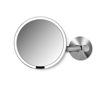 simplehuman Wall Mount Sensor Mirror 20cm, Stainless Steel, Rechargeable