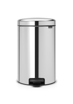 114267 - Brabantia NewIcon Pdeal Bin with Metal Bucket - 20 Ltr - Brilliant Steel - Pedal Operated