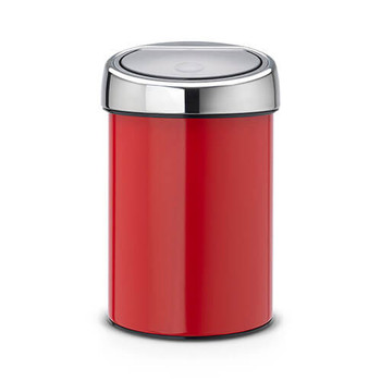 Brabantia Touch Bin 3 litre Plastic Bucket - Passion Red  / Brilliant Steel Lid