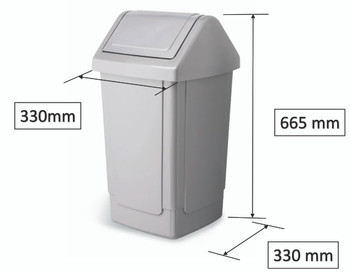 Addis 40 Litre Swing Bin Technical Drawing and Dimensions