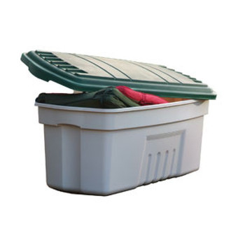 Curver 189L Trunk with Lid - Stone and Green - Stone / Green