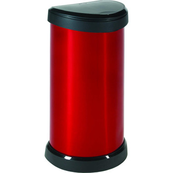 Curver Deco Bin - Touch Top Lid - 40L  - Red/Black Lid