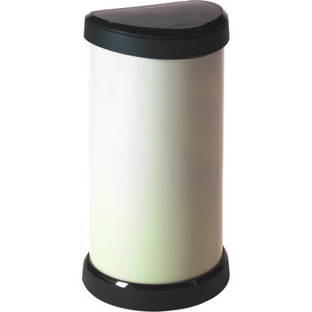 Curver Deco Bin - Touch Top Lid - 40L  - Cream/ Black Lid
