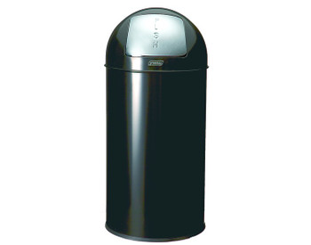 Probbax Metal Push Bin 40L - 10 4/7 Gal - Detachable Lid - Powder Coated - Fitted With Galvanized Liner And Rim - Black