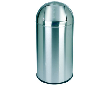 Probbax Metal Push Bin 40L - 10 4/7 Gal - Detachable Lid - Body Ss 430#, Lid 304#S/S - Mirror Finish - Fitted With Galvanized Liner And Rim - Mirror Stainless Steel
