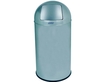 Probbax Metal Push Bin 40L - 10 4/7 Gal - Detachable Lid - Powder Coated - Fitted With Galvanized Liner And Rim - Metallic Grey