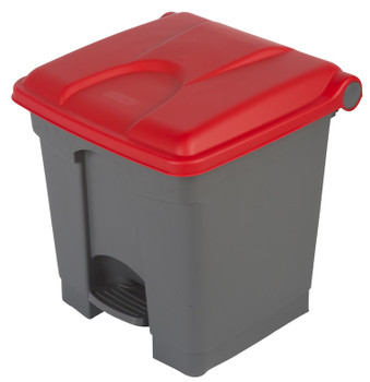 Probbax Step-On Container 30L - Grey (Body)/Red (Lid)