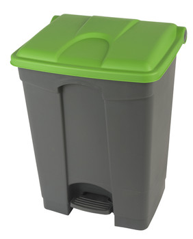 Probbax Step-On Container 70L - 18 1/2 Gal - Grey (Body)/Green (Lid)