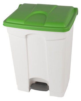 Probbax Step-On Container 70L - 18 1/2 Gal - White (Body)/Green (Lid)