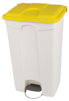 Probbax Step-On Container 90L - White (Body)/Yellow (Lid)