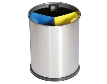 Probbax Waste Bin 13L Satin Stainless Steel With 3 Removable Compartments (Black, Yellow, Blue) - Satin Stainless Steel