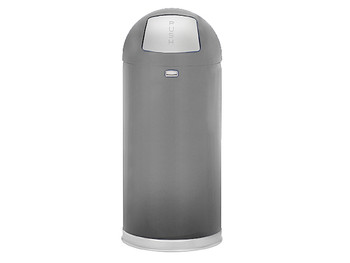 Rubbermaid Easypush Bin With Galvanised Liner 56 L - Silver