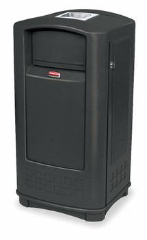 Rubbermaid Landmark Jr. Container With Ashtray - Black