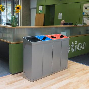 Wybone C-Bin Quad Recycling Unit With Coloured Bodies - 240L
