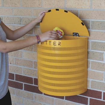 Wybone Pwf Semi-Circular Open Top Litter Bin Post Fixing