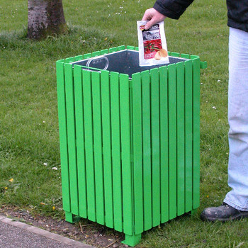 Wybone Anti Vandal Litter Bin Open Top Metal Slatted Bin