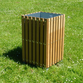 Wybone Sts/2 Slatted Square Open Top Litter Bin Wooden
