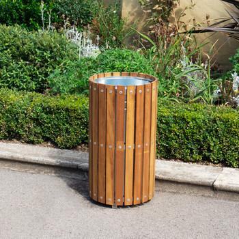 Wybone Wts/2 Circular Slatted Open Top Litter Bin Timber Slats