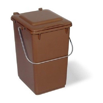 10 Litre Kitchen Waste Caddy Bin Brown