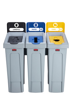 Rubbermaid Slim Jim Recycling Station Bundle 3 Stream - Landfill (black)/ paper (blue)/ Plastic (yellow)