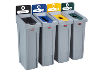 Rubbermaid Slim Jim Recycling Station Bundle 4 Stream - Landfill (black)/ Paper (blue)/ Plastic (yellow)/ Glass (green)
