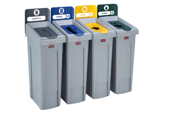 Rubbermaid Slim Jim Recycling Station Bundle 4 Stream - Landfill (grey)/ Paper (blue)/ Plastic (yellow)/ Glass (green)