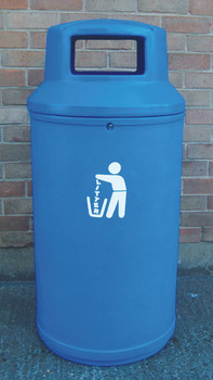 Theme Bins Universal Litter Bin in Light Blue for Indoor & Outdoor Use - 90 Litres