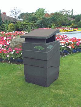 Theme Bins Imperial Litter Bin in Dark Millstone for Indoor & Outdoor Use - 100 Litres