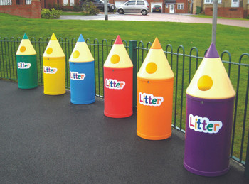 Theme Bins Micro Pencil with Litter Letters in Light Blue for Indoor & Outdoor Use - 42 Litres