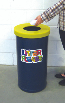 Theme Bins Popluar with Litter Letters in Dark Blue & Lime for Indoor Use - 70 Litres
