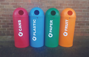 Theme Bins Slimline Classic with Can Graphics in Red for Indoor & Outdoor Use - 52 Litres