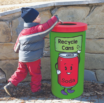 Theme Bins Popular with Can Recycling Graphic for Indoor Use - 70 Litres