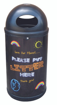 Theme Bins Classic with Litter Blackboard Recycling Graphics for Indoor & Outdoor Use - 90 Litres