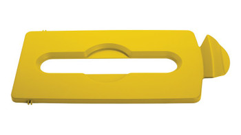Rubbermaid Slim Jim Recycling Station Stream Topper - Yellow Paper Slot Lid