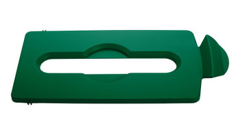 Rubbermaid Slim Jim Recycling Station Stream Topper - Green Paper Slot Lid