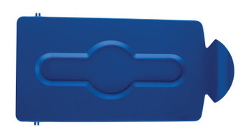 Rubbermaid Slim Jim Recycling Station Stream Topper - Blue Closed Lid