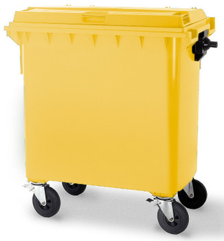Yellow Wheelie Bin - 660 Litre