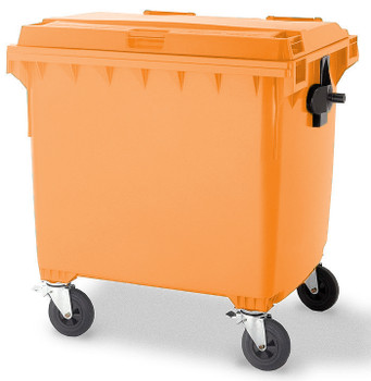 Orange Wheelie Bin - 1100 Litre