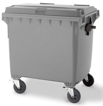 Steel Grey Wheelie Bin - 1100 Litre