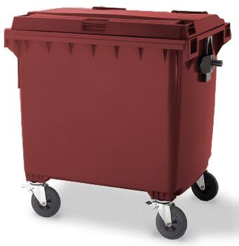 Wine Red Wheelie Bin - 1100 Litre