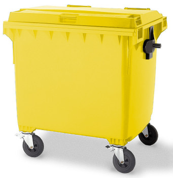 Yellow Wheelie Bin - 1100 Litre