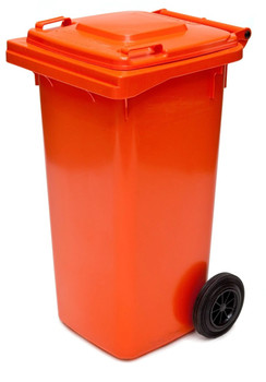 Orange Wheelie Bin - 120 Litre