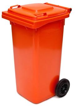 Orange Wheelie Bin - 120 Litre