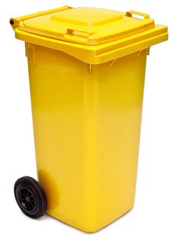 Yellow Wheelie Bin - 140 Litre